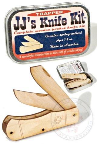 Buy Wooden Pocket Knife Kit USA Tin Box at TinToyArcade.com $7.98