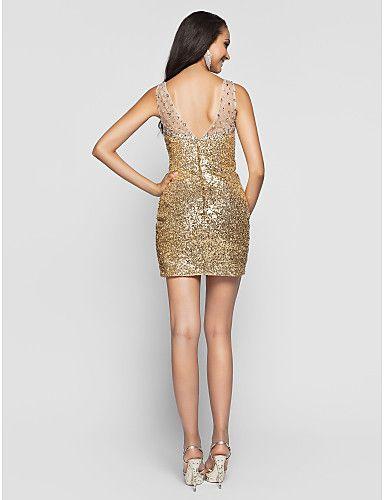 cintas bainha / coluna v-pescoço até o chão-de lantejoulas e chiffon de noite / vestido de baile (551405) – BRL R$ 683,97
