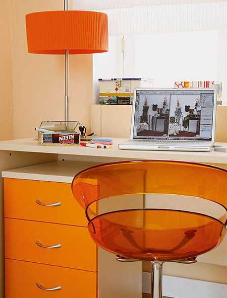 home office furniture, desk, chair and table lamp in orange color