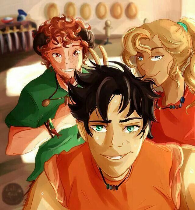 The original trio~Percy Jackson, Annabeth Chase, and Grover Underwood SELFIE!