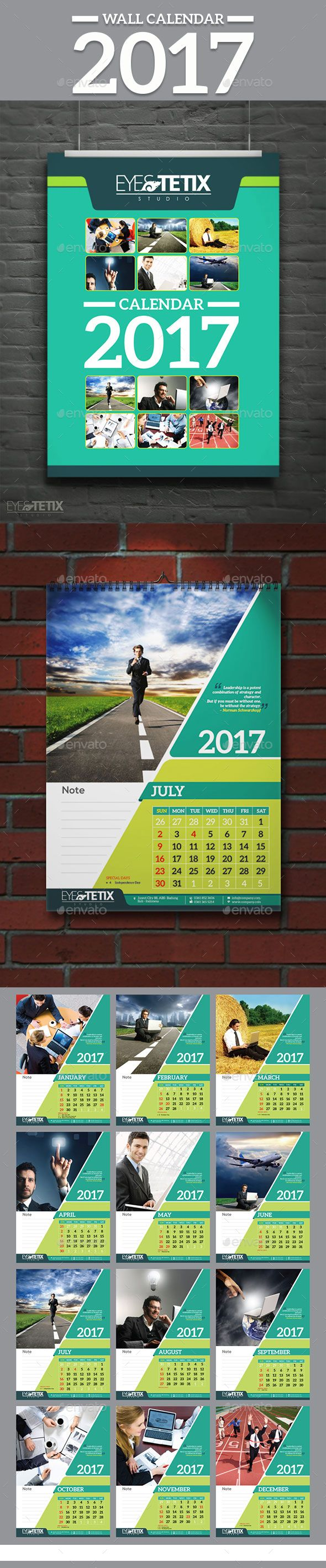 Wall Calendar 2017 Template Vector EPS, AI Illustrator