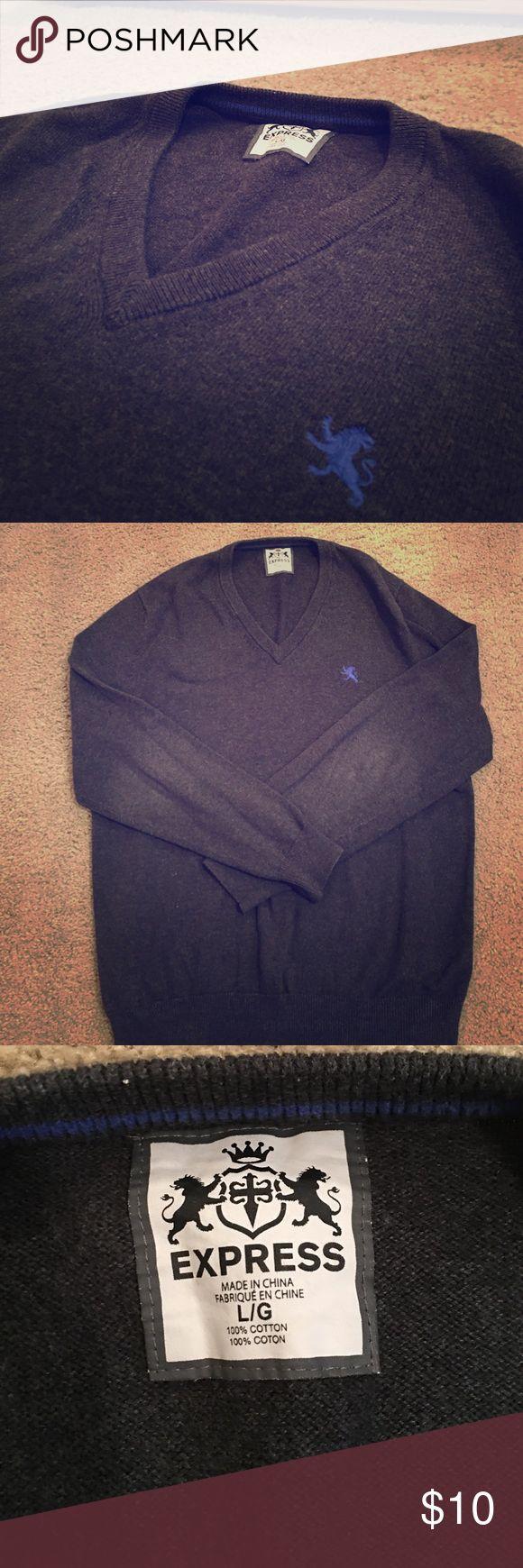 Express Men's Cotton V-Neck Sweater in Dark Gray Express Men's Cotton V-Neck Sweater in Dark Gray Express Sweaters V-Neck