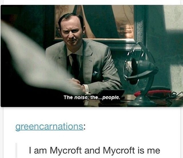 "In my commentary of the episode, I did in fact say at this point that ""Mycroft is me"". <--- Me too!"