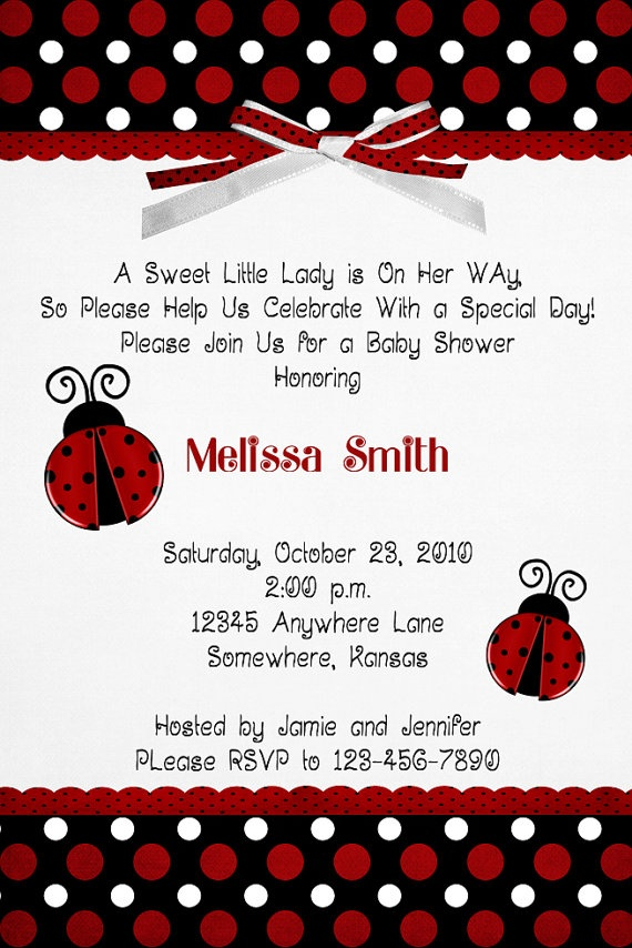 10 Ladybug Baby Shower Invitations with Envelopes | Shower ...