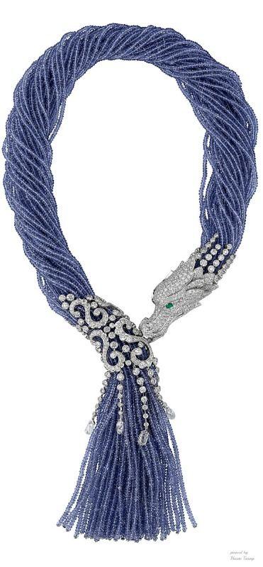 Cartier Dragon-Motif necklace. Platinum, tanzanite beads, and diamonds