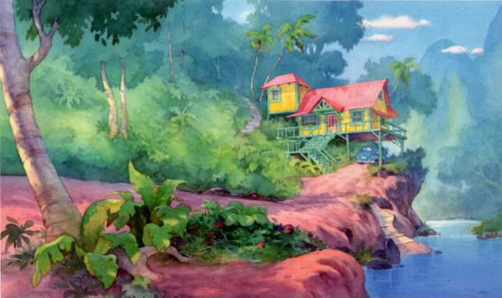 Xiangyuan Jie's watercolor backgrounds for Lilo & Stitch (2002)