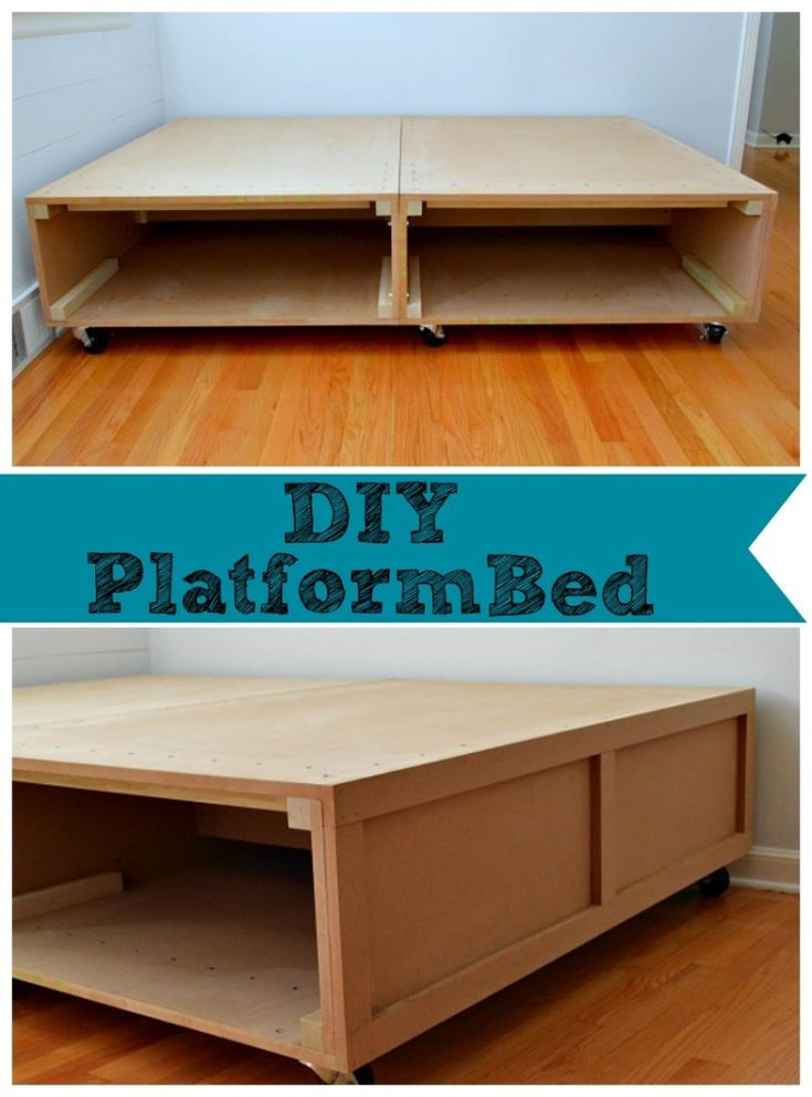 DIY platform bed with wheels and storage space. #diy chatfielcourt.com