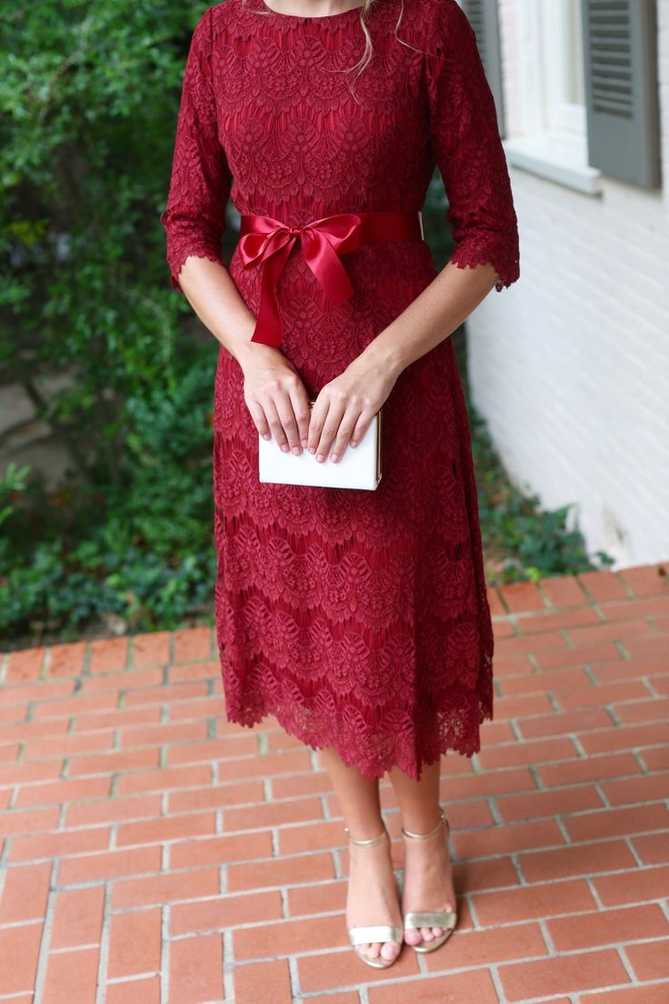 Modest lace Night in Paris Dress in cranberry red. Modest bridesmaid dresses, ruffles, and lace. www.daintyjewells.com