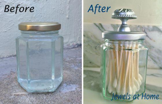 faire un pot façon ancien (bocal en verre+bouton de meuble+peinture argent)