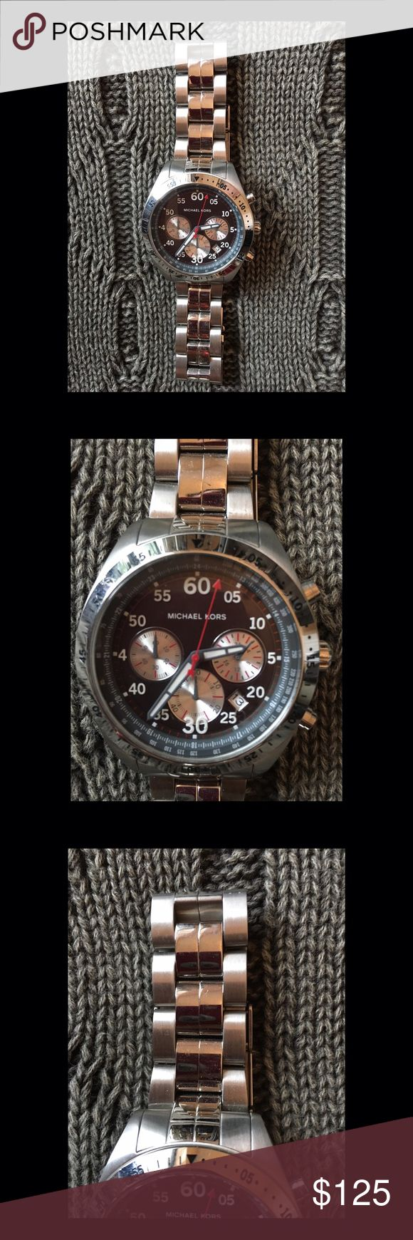 Men's Michael Kors Sterling Silver Watch This gorgeous sterling silver with black face watch is classic yet trendy. Took tag off sadly. Never worn. Minimal ware as I see none on it and have taken various images. Michael Kors Accessories Watches