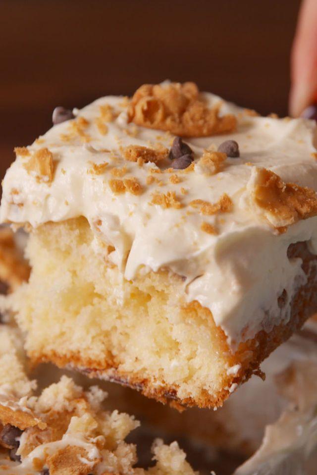 Cannoli Poke Cake  - Delish.com