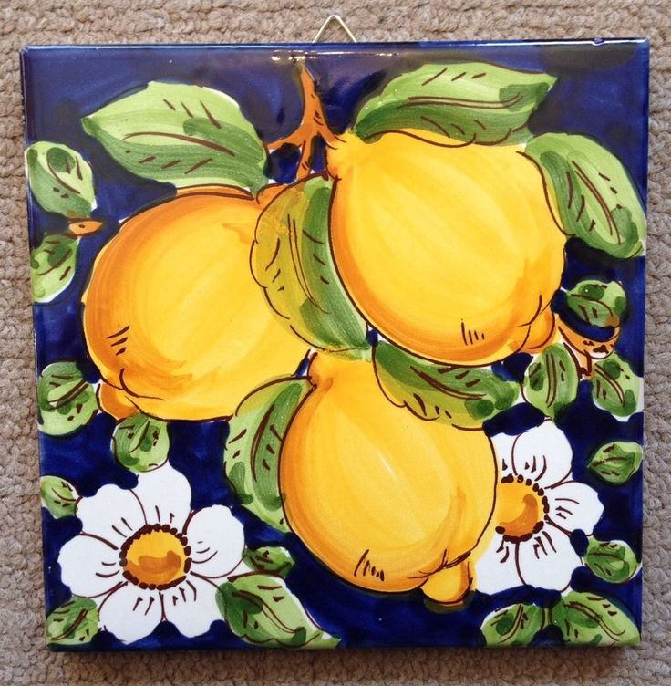 Vietri Pottery- 6x6 inch Tile Lemon made/painted by hand in Italy picclick.com