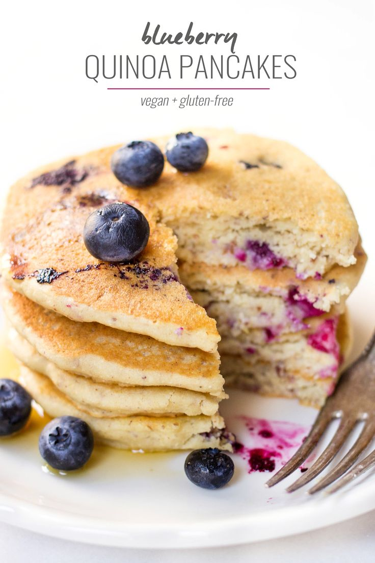 VEGAN BLUEBERRY QUINOA PANCAKES -- light, fluffy and perfectly tender. They're the ULTIMATE breakfast treat!
