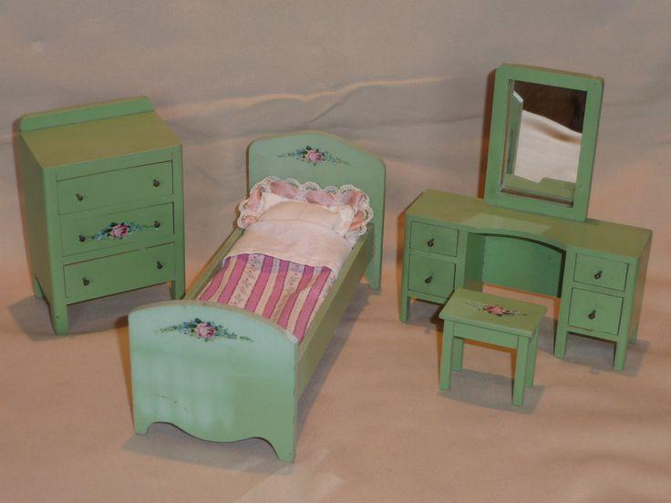 RARE 1:12 Scale Wisconsin Toy Company Goldilocks Bedroom Set 20s/30s | EBay  · Doll FurnitureDollhouse ...