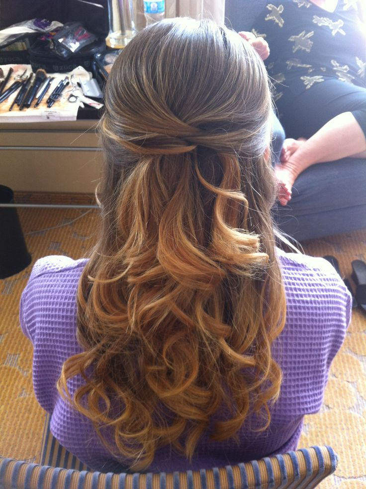 Curly hairstyles half up half down with braid
