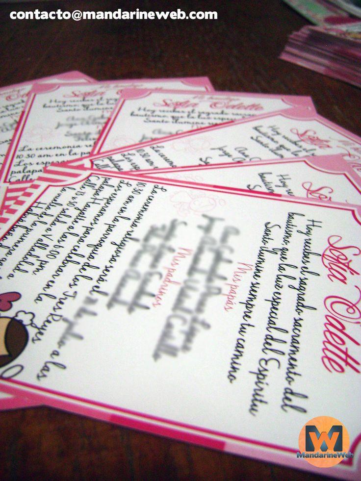 invitaciones rosas para bautizo. detalle