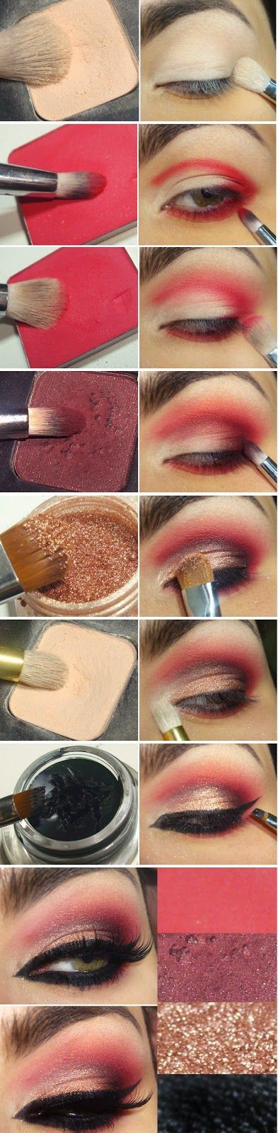 Wonderful Red and Gold with Black Eyeliner Makeup Tutorials / Best LoLus Makeup Fashion