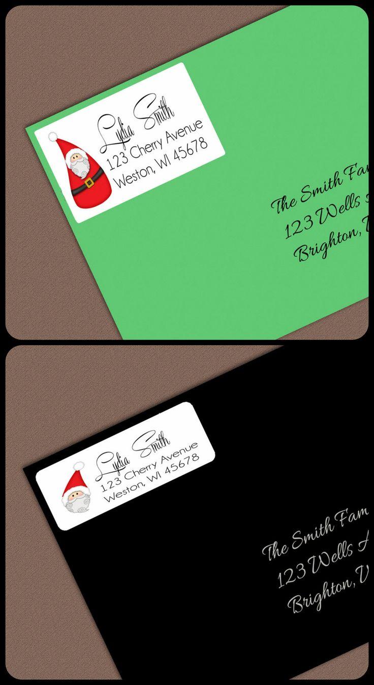 $5.25 for 1 Sheet--Santa Address Labels, Christmas Address Labels, Personalized Return Address Label Stickers, Address Label, Christmas Label Gift Tag, Santa Gift Tags, 1 Sheet