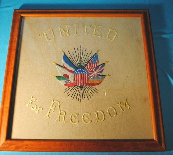 1914-18 FRAMED HAND EMBROIDERED FLAGS PATRIOTIC SLOGAN MOTTO SAMPLER EMBROIDERY