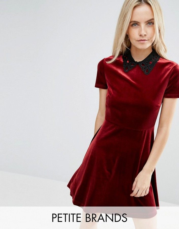 Miss Selfridge Petite Collar Detail Velvet Dress