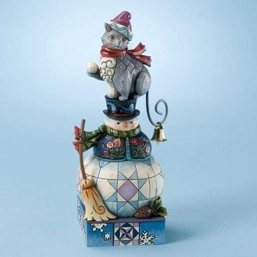 Winter's Whimsy-Cat On Snowman Figurine - Jim Shore Store