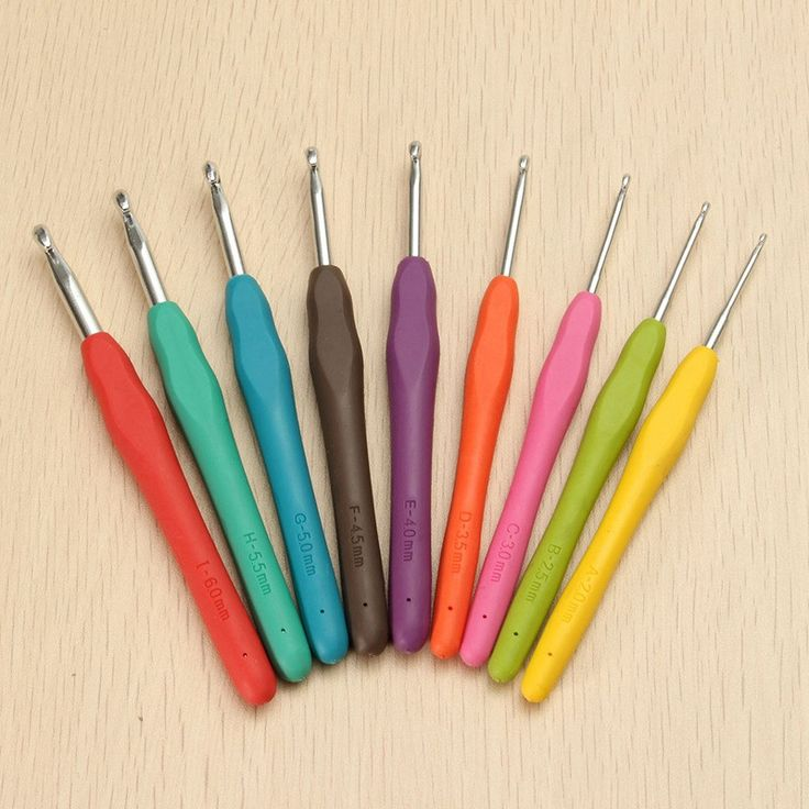 KiWarm 9 шт./компл. 2.0 мм 6 мм Красочные TPR Мягкой Пластиковой Ручкой Алюминиевый Крючок Спицы Weave DIY швейная Фурнитура купить на AliExpress