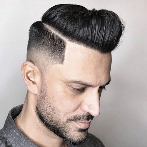 Medium Razor Fade with Line Up and Parted Pomp