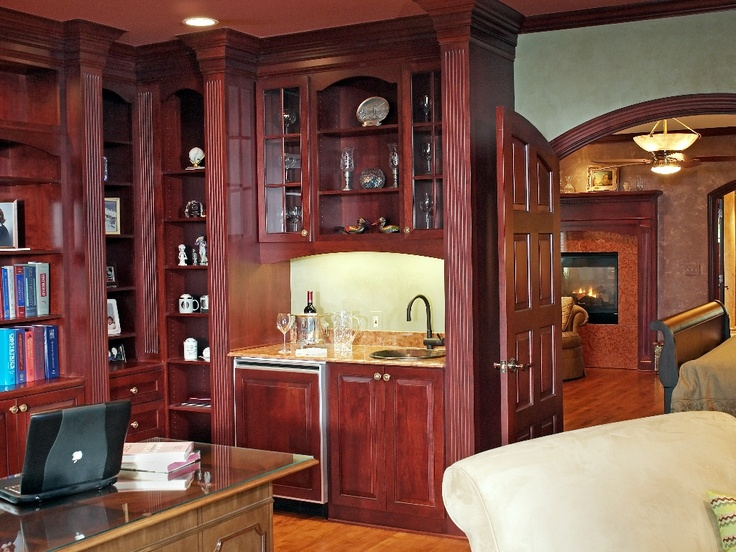 Cherry home office designed by monica miller ckd cbd cr for Office wet bar