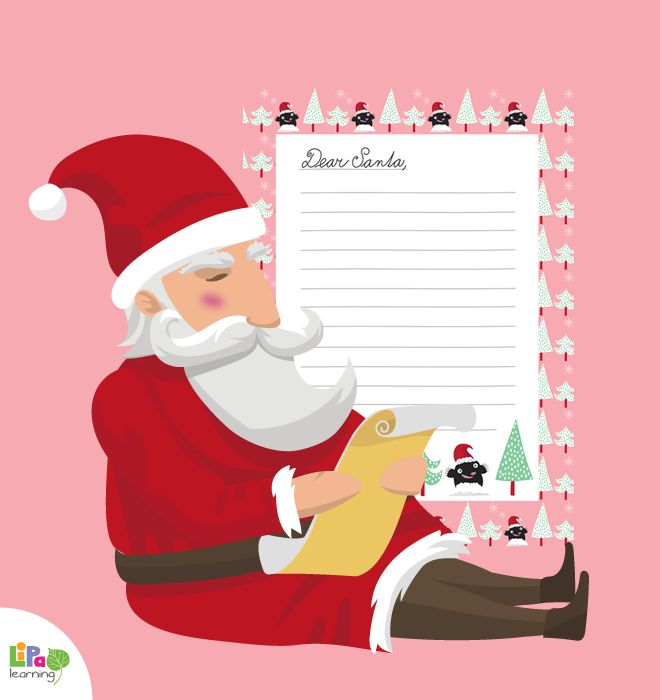Beautiful Santa letter templates for girls and boys by Lipa Village. Download now and write to Santa with a style!