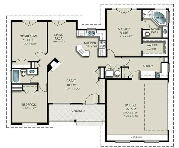 103 best images about cool floor plans on pinterest for Simple open floor plans
