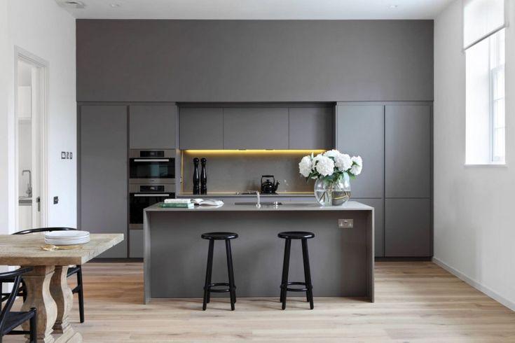küchen zeitgenössische küche dunkelgrau weiß design mit