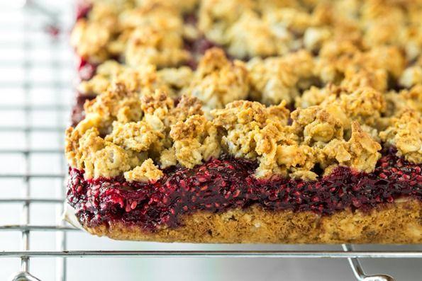 raspberrychiaseedjamoatsquaresvegan 0418   Raspberry Chia Seed Jam Oat Crumble Squares (Vegan + Gluten Free)