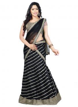 Elegant Black Pure silk Indian ghagra choli