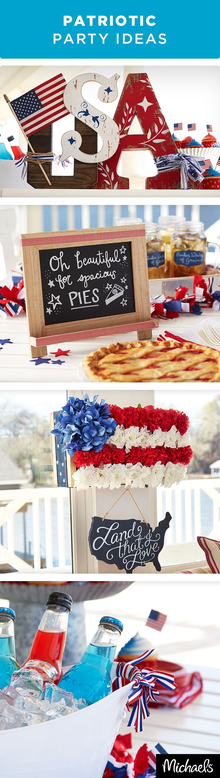 These DIY party ideas will liven up your Patriotic celebrations! From Star-Spangled banners to red, white & blue drinks and desserts, these ideas are sure to make any party pop. Find everything you need at your local Michaels and make your Independence Day celebration fun & festive!