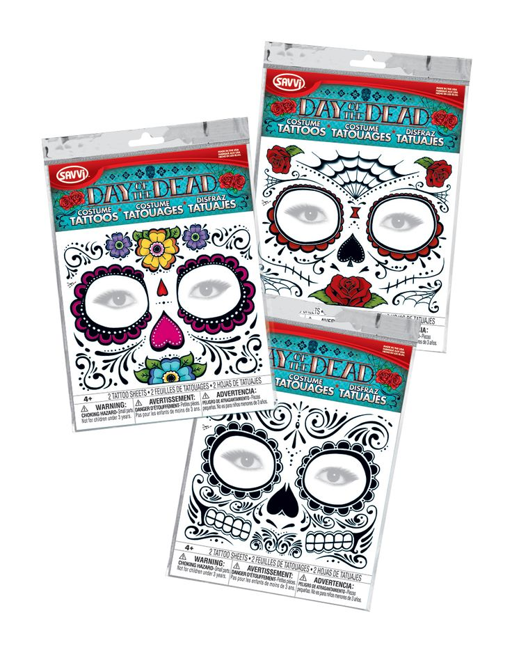 Spirit Halloween :: Day of the Dead Sugar Skull temporary face tattoos