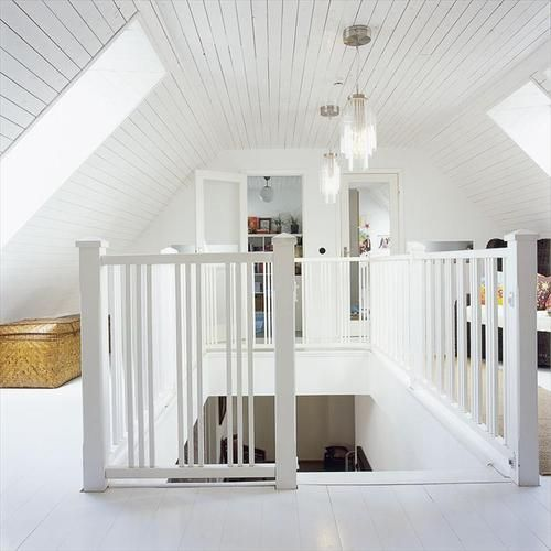 I love the all white attic.  Even the floor.  Great way to brighten it.: Attic Playroom, Attic Ideas House, House Ideas, Attic Remodel, Dream House, Loft Idea, Attic Rooms