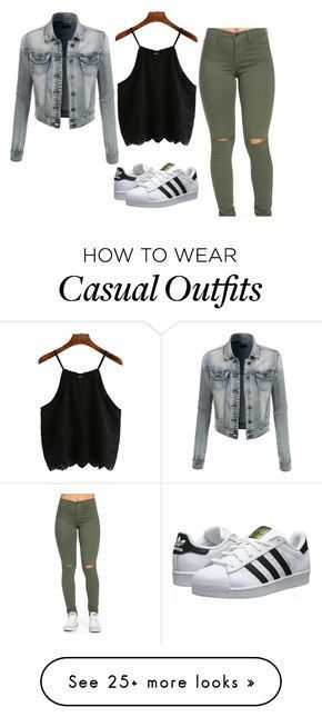 """""""Casual daytime outfit"""" by theriptide on Polyvore featuring LE3NO, adidas Originals, women's clothing, women's fashion, women, female, woman, misses and juniors"""