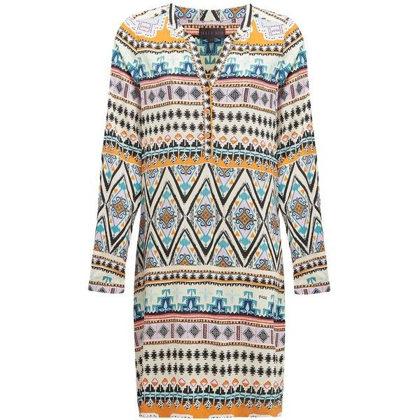 Hale Bob Long Sleeve Aztec Print Dress - Orange (15,680 PHP) ❤ liked on Polyvore featuring dresses, orange, white button down dress, special occasion dresses, evening dresses, orange evening dress and white cocktail dresses