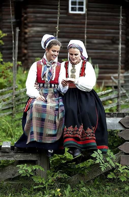 Europe | Portrait of two young women wearing traditional clothes, Nordmøre, East-Telemark, Norway #bunad #embroidery #Scandinavian