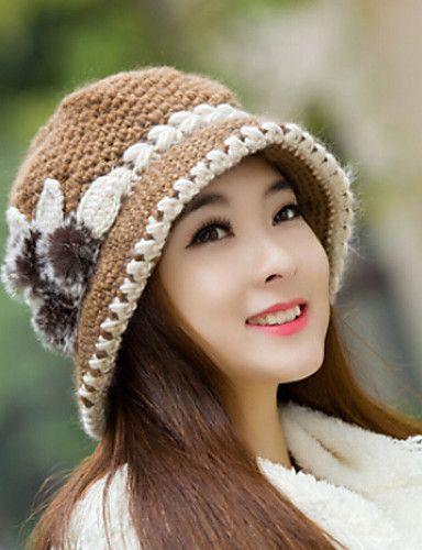 Womens Wool Flowers Knitting Crochet Casual Cap Beanies Cap 4579382 2017 – $6.99