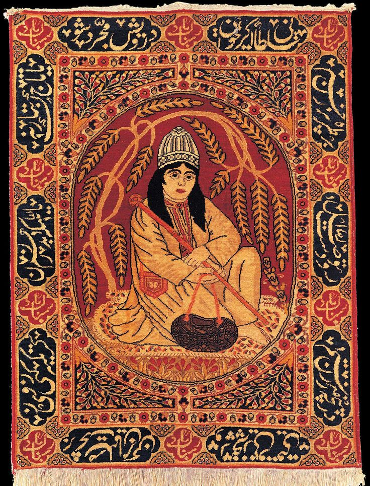 """Antique Tabriz pictorial rug, """"Dervish"""", Azerbaijan, late 19th century, State Museum of Azerbaijan Carpet and Applied Art"""