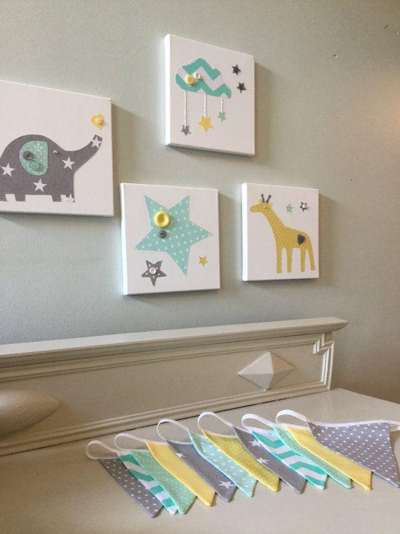 Handmade Nursery Mint Green Grey Elephant Giraffe Clouds Star