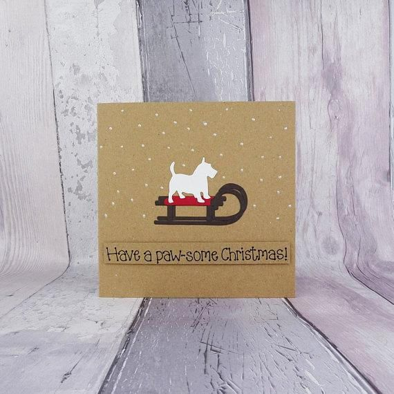 West Highland White Terrier handmade Christmas card Westie on