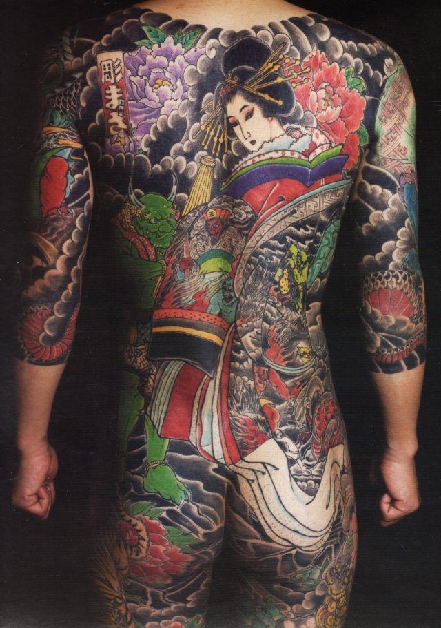 背中,額,人物,牡丹,虎,鬼,花,動物タトゥー/刺青デザイン画像