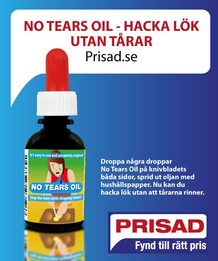 Droppa några droppar No Tears Oil på knivbladets båda sidor, sprid ut oljan med hushållspapper. Nu kan du hacka lök utan att tårarna rinner.