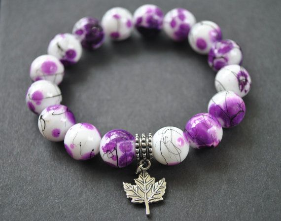 Purple Bracelet Handmade Purple Beaded Leaf by DorisAnnCreations