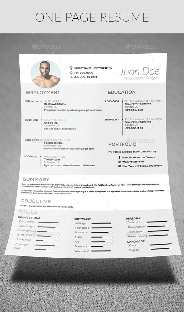 The 25+ best One page resume ideas on Pinterest Resume layout - one page resumes