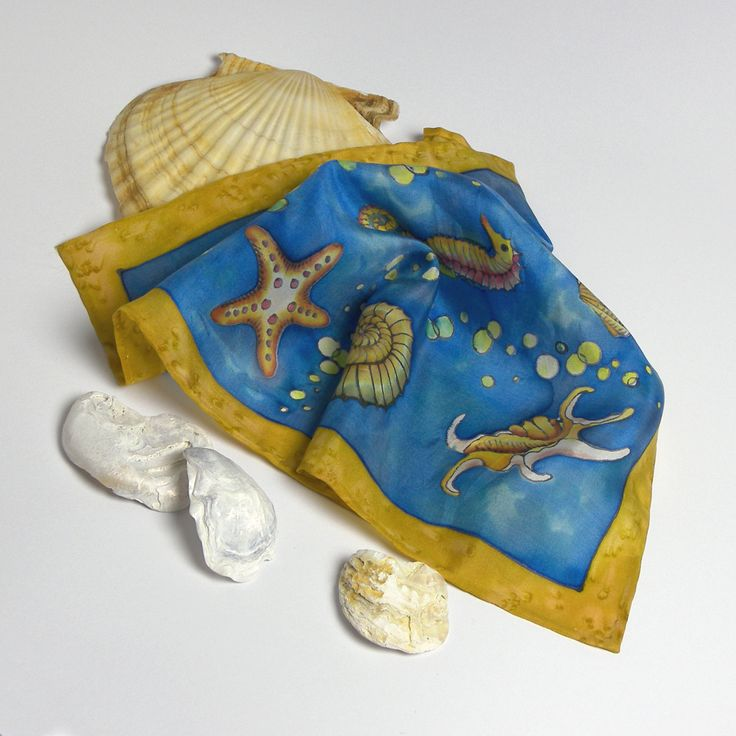 Blue pocket square wedding gift for him hand painted silk Father's day gift mens handkerchief sea creatures nautical  shells seahorse hankie by SilkaShop on Etsy