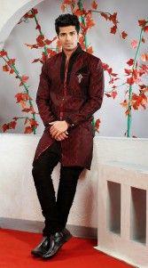 Red Poly Jacquard Indo Western Sherwani SIG723