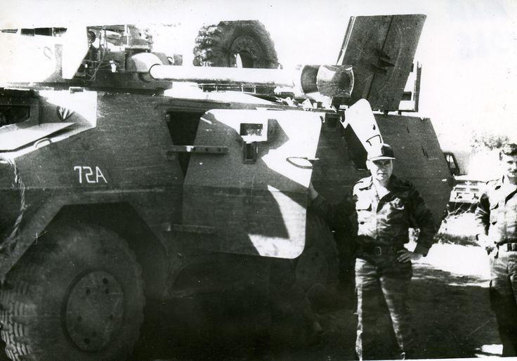 "A South African ""Ratel"" AIFV captured by Cuban forces after The Battle of Chip Cunene. Date: June 27th, 1988. Soviet officers pose in photo."